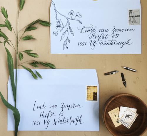 Kalligrafie bruidsinspiratiebeurs trouwkaart